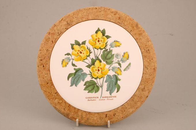 "Portmeirion Botanic Garden Teapot Stand Cork base - Gossypium Barbadense - Barbados Cotton Flower 7 3/4"""