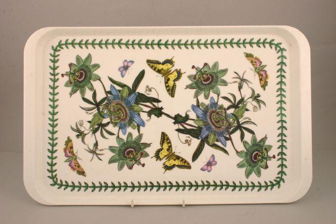 """Portmeirion Botanic Garden Serving Tray Rectangular - Melamine - Blue Passion Flower 18 3/4 x 11 1/2"""""""