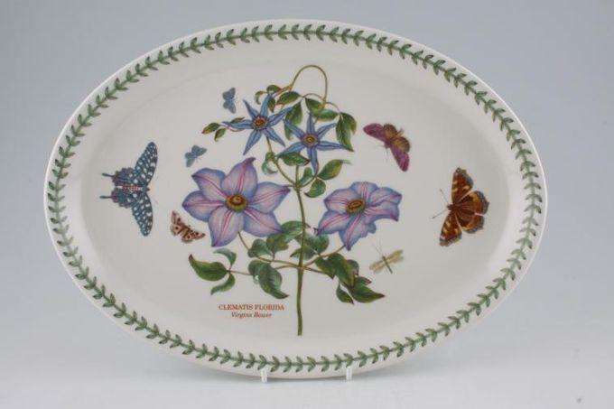 "Portmeirion Botanic Garden Oval Plate / Platter Clematis Florida - Virgins Bower - Named 12 7/8"""