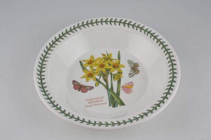 "Portmeirion Botanic Garden Rimmed Bowl Narcissus Minimus - Small Narcissus - named - pattern on rim 8 1/2"""