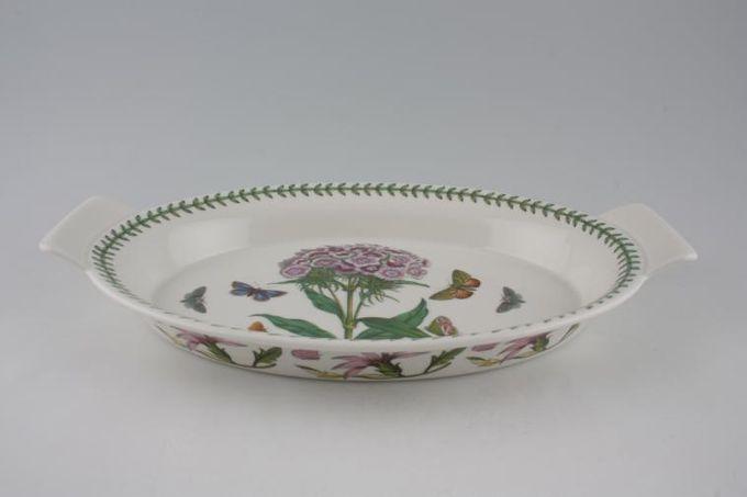 "Portmeirion Botanic Garden Serving Dish Oval - Eared - Dianthus Barbatus - Sweet William 12 3/4"""