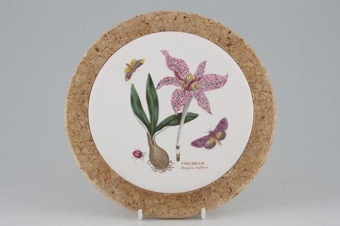 "Portmeirion Botanic Garden Teapot Stand Cork base - Colchicum - Meadow Saffron - No Backstamp 7 3/4"""