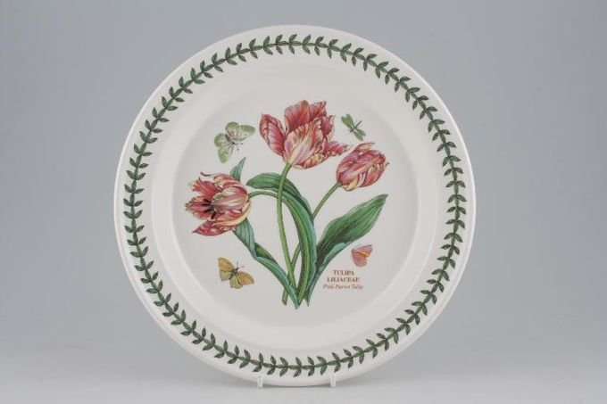 "Portmeirion Botanic Garden Dinner Plate Tulipa Liliacea - Pink Parrot Tulip 10 1/2"""