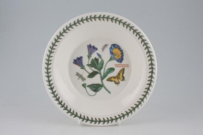 "Portmeirion Botanic Garden Rimmed Bowl Convovulus - Trailing Bindweed 8 1/2"""