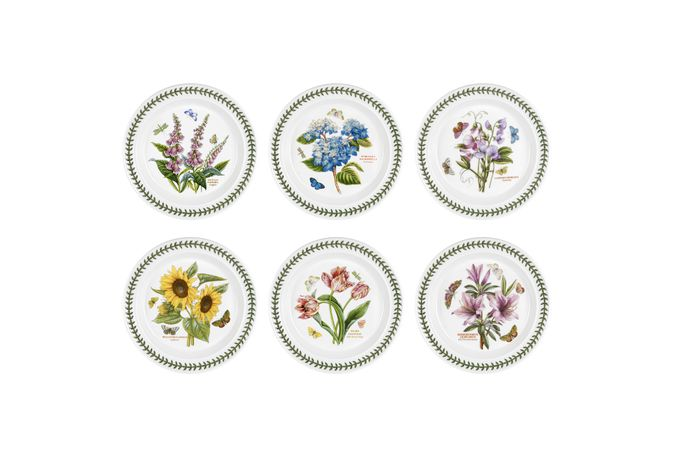 Portmeirion Botanic Garden Set of 6 Dinner Plates Set of 6 Mixed Flowers