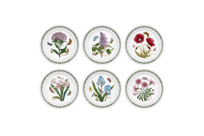 "Portmeirion Botanic Garden Starter / Salad / Dessert Plates - Set of 6 Set of 6 Iris, Trasure Flower, Sweet William, Garden Lilac, Dog Rose, Belladonna Lily 8 1/2"""