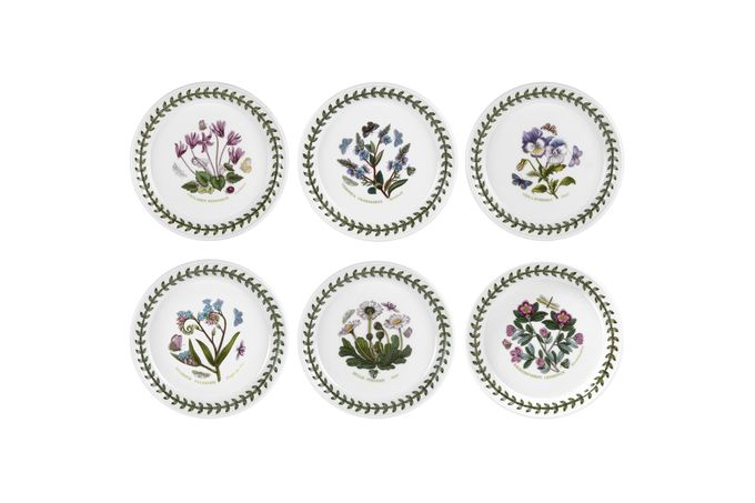 """Portmeirion Botanic Garden Tea / Side Plate - Set of 6 Set of 6 Daisy, Cyclamen, Pansy, Speedwell, Rhodedendron, Forget-Me-Not 6"""""""