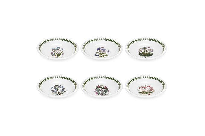 Portmeirion Botanic Garden Bowl - Set of 6 Set of 6 Daisy, Cyclamen, Pansy, Speedwell, Rhodedendron, Forget-Me-Not