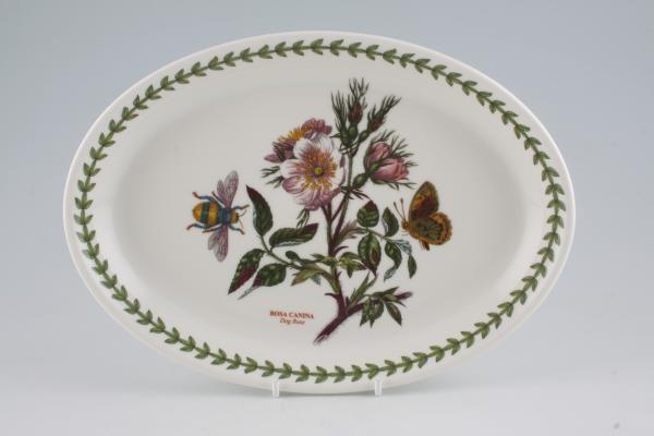 """Portmeirion Botanic Garden Oval Plate / Platter Dog Rose 10 3/8"""""""