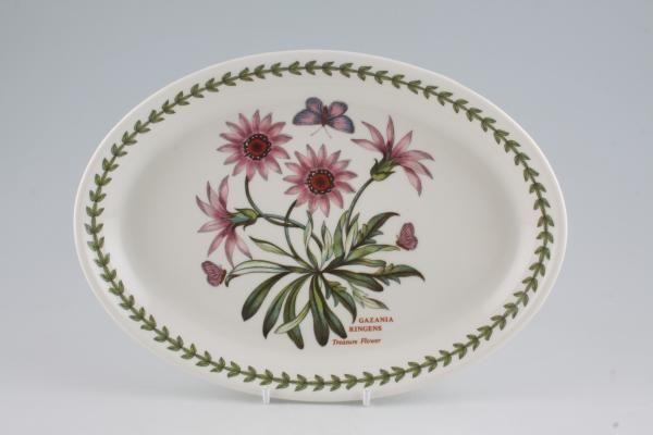 """Portmeirion Botanic Garden Oval Plate / Platter Treasure Flower 10 3/8"""""""