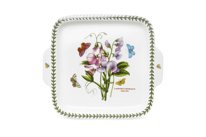 """Portmeirion Botanic Garden Serving Dish Square Handled Dessert Dish, Handled (New 2010) Gift Boxed 11"""""""
