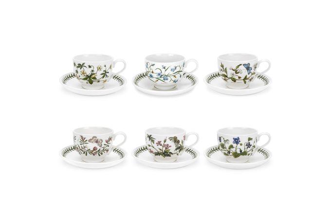 Portmeirion Botanic Garden Teacup & Saucer - Set of 6 New Motifs Set of 6 7oz