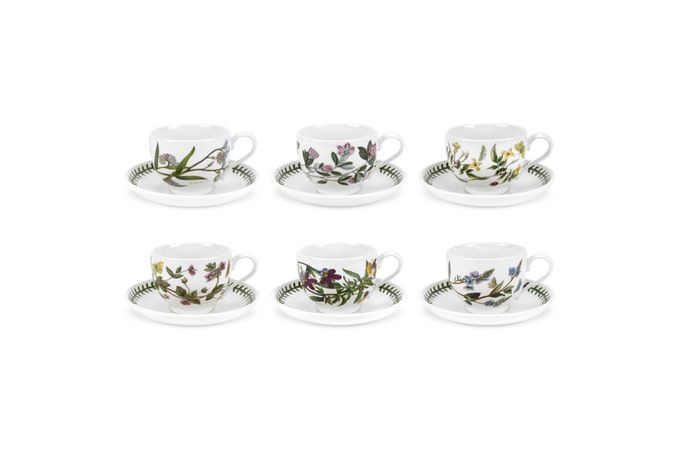Portmeirion Botanic Garden Teacup & Saucer - Set of 6 Standard Motifs Set of 6 7oz