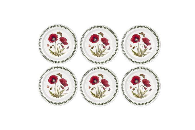 """Portmeirion Botanic Garden Set of 6 Dinner Plates Poppy 10 1/2"""""""