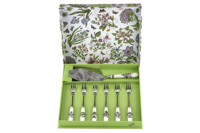 Portmeirion Botanic Garden Cake Slice and 6 Pastry Forks