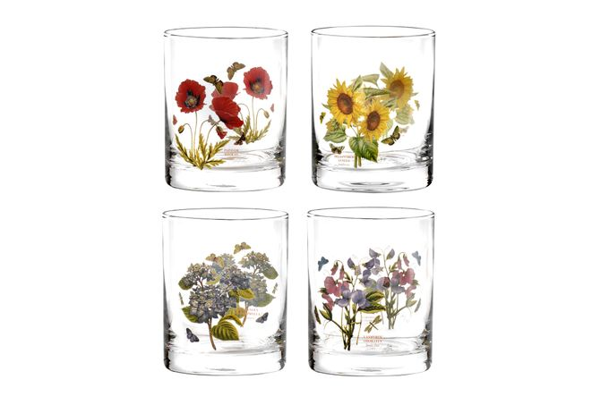 Portmeirion Botanic Garden Set of 4 Tumblers Double Old Fashioned - Assorted Motifs