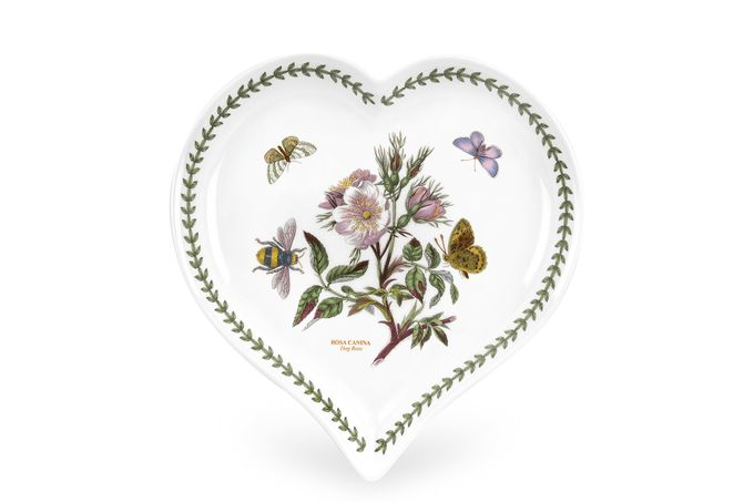 Portmeirion Botanic Garden Heart Dish Dog Rose 23 x 20cm