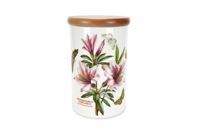 Portmeirion Botanic Garden Storage Jar + Lid Airtight - Lily Flowered Azalea 12.5 x 19.5cm