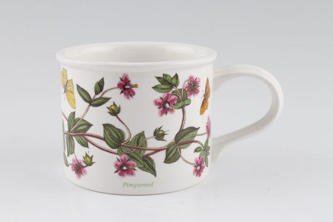 """Portmeirion Botanic Garden Teacup Drum Shape - Anagallis Arvensis - Pimpernel - Named 3 1/4 x 2 5/8"""""""