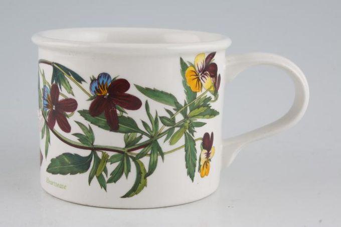 "Portmeirion Botanic Garden Teacup Drum Shaped - Viola Tricolor - Heartsease - Named 3 1/4 x 5 5/8"""