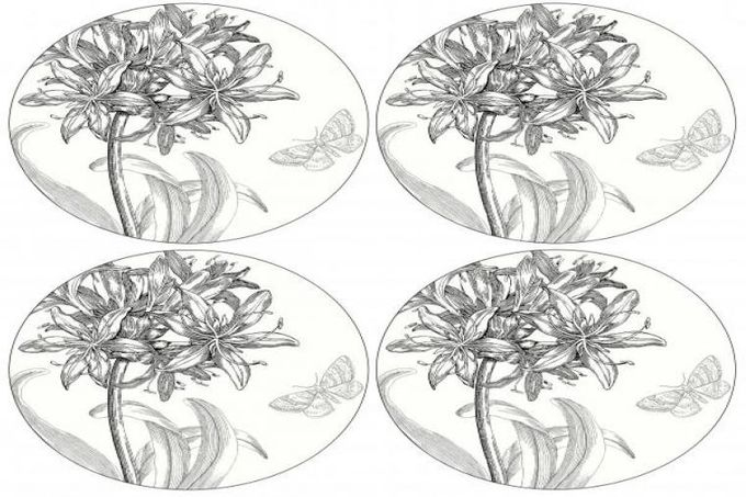 Portmeirion Agapanthus Coaster Round Coasters - set of 4 4""