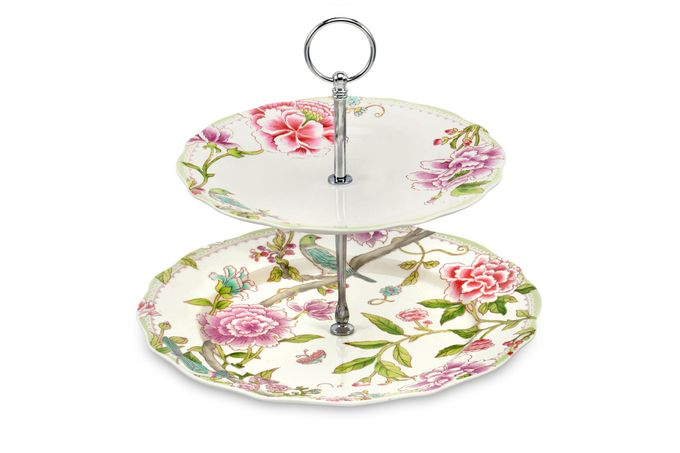 Portmeirion Porcelain Garden 2 Tier Cake Stand 27cm and 21cm