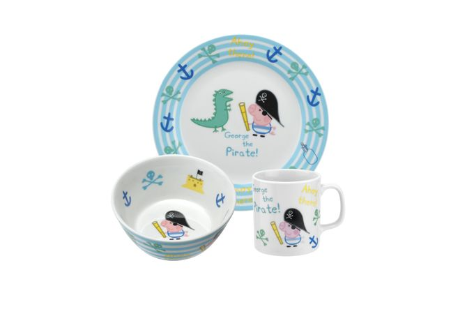 Portmeirion Peppa Pig 3 Piece Set George Pirate - Plate 19cm, Bowl 13cm, Mug 0.2L