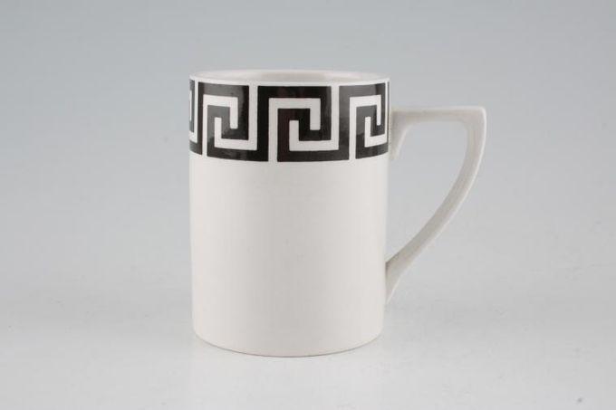 "Portmeirion Greek Key - White + Black Coffee/Espresso Can 2 3/8 x 3 1/4"""