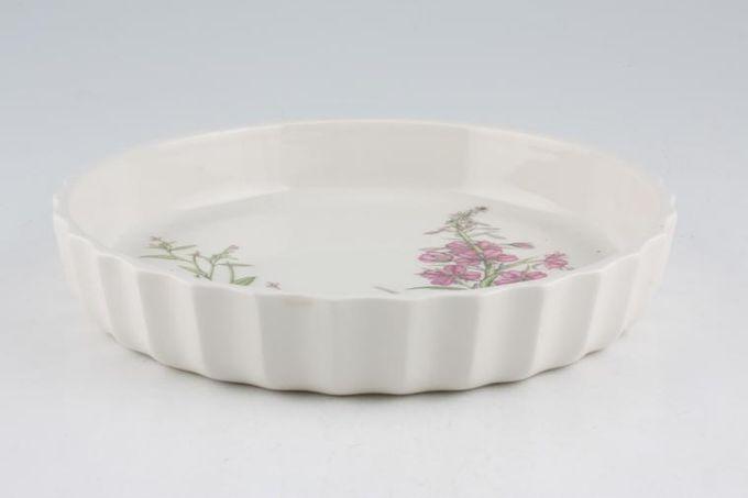 "Portmeirion Queens Hidden Garden Flan Dish Rosebay Willow Herb 8 1/4"""