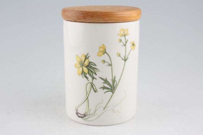 "Portmeirion Queens Hidden Garden Storage Jar + Lid Buttercups 3 3/4 x 5"""