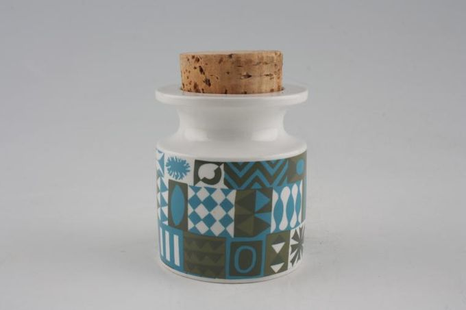 Portmeirion Tivoli - Khaki + Blue Storage Jar + Lid Size represents height. Cork lid 3 1/4""