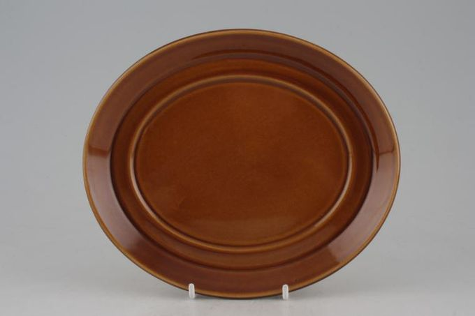 """Portmeirion Totem Brown Sauce Boat Stand Oval 7 1/2"""""""