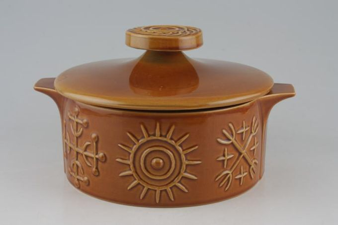 Portmeirion Totem Brown Vegetable Tureen with Lid Round - 2 handles 7 3/8 x 3 1/4""