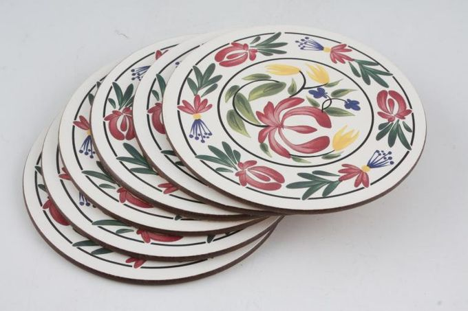 Portmeirion Welsh Dresser Coaster Set of 6 - Round - Cork Backed 4""