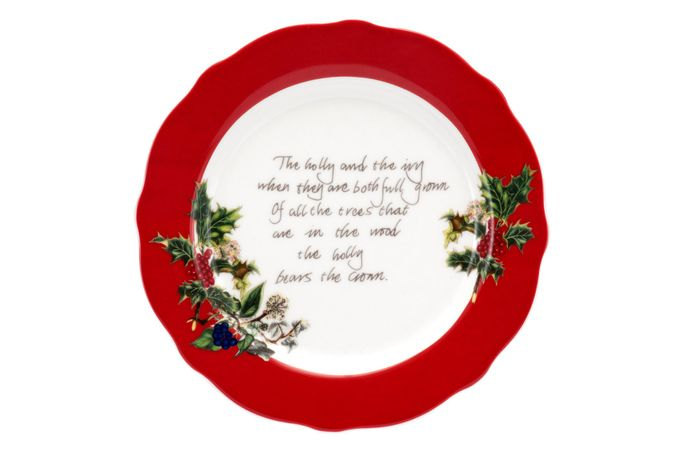 """Portmeirion The Holly and The Ivy Tea / Side Plate Accent - Red border. 6 1/8"""""""