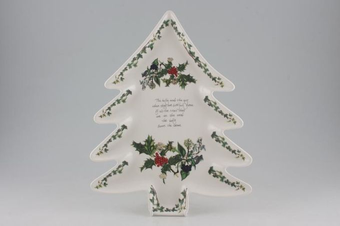 """Portmeirion The Holly and The Ivy Serving Dish Christmas tree shape 13"""""""