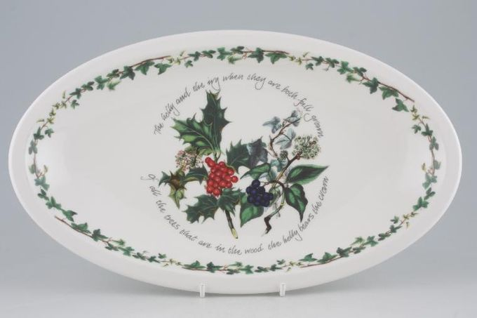 """Portmeirion The Holly and The Ivy Serving Dish Oval, 1 1/2"""" Deep 13 1/8"""""""
