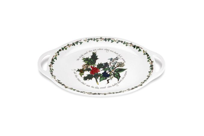 Portmeirion The Holly and The Ivy Oval Plate / Platter With Handles 18""