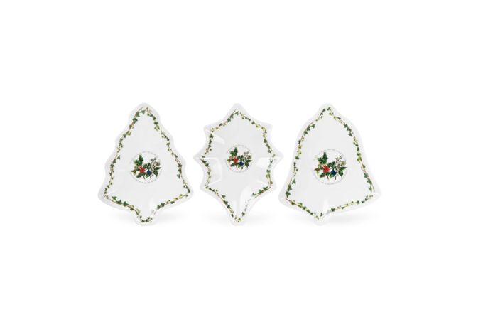 Portmeirion The Holly and The Ivy Dish (Giftware) Set of 3,Holly, Tree & Bell Shaped Dishes