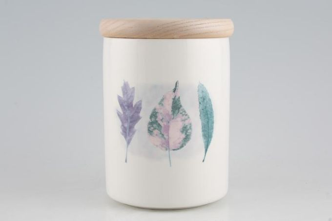 """Portmeirion Dusk Storage Jar + Lid Wooden Lid 3 3/4 x 5"""""""