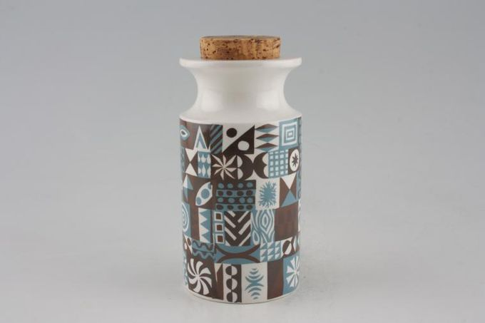 Portmeirion Tivoli - Blue + Brown Storage Jar + Lid Size represents height. Cork stopper 6""