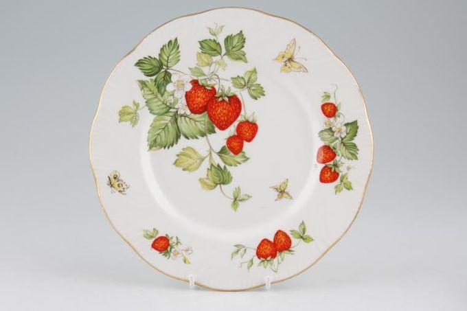 "Queens Virginia Strawberry - Gold Edge - Swirl Embossed Starter / Salad / Dessert Plate 8 1/4"""