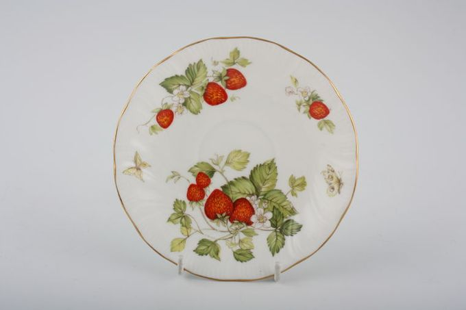 """Queens Virginia Strawberry - Gold Edge - Swirl Embossed Tea Saucer Also Fit Coffee Cup 5 5/8"""""""