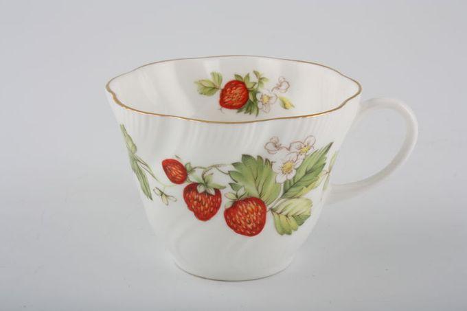 "Queens Virginia Strawberry - Gold Edge - Swirl Embossed Teacup 3 1/2 x 2 5/8"""