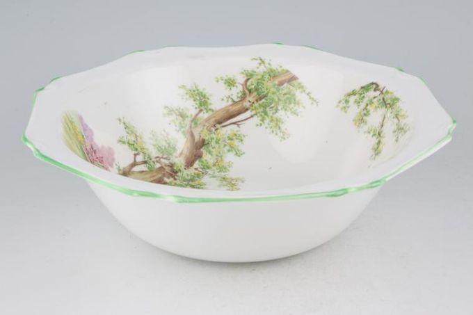 "Royal Albert Greenwood Tree - Green Edge - Octagonal Serving Bowl 9 1/4"""