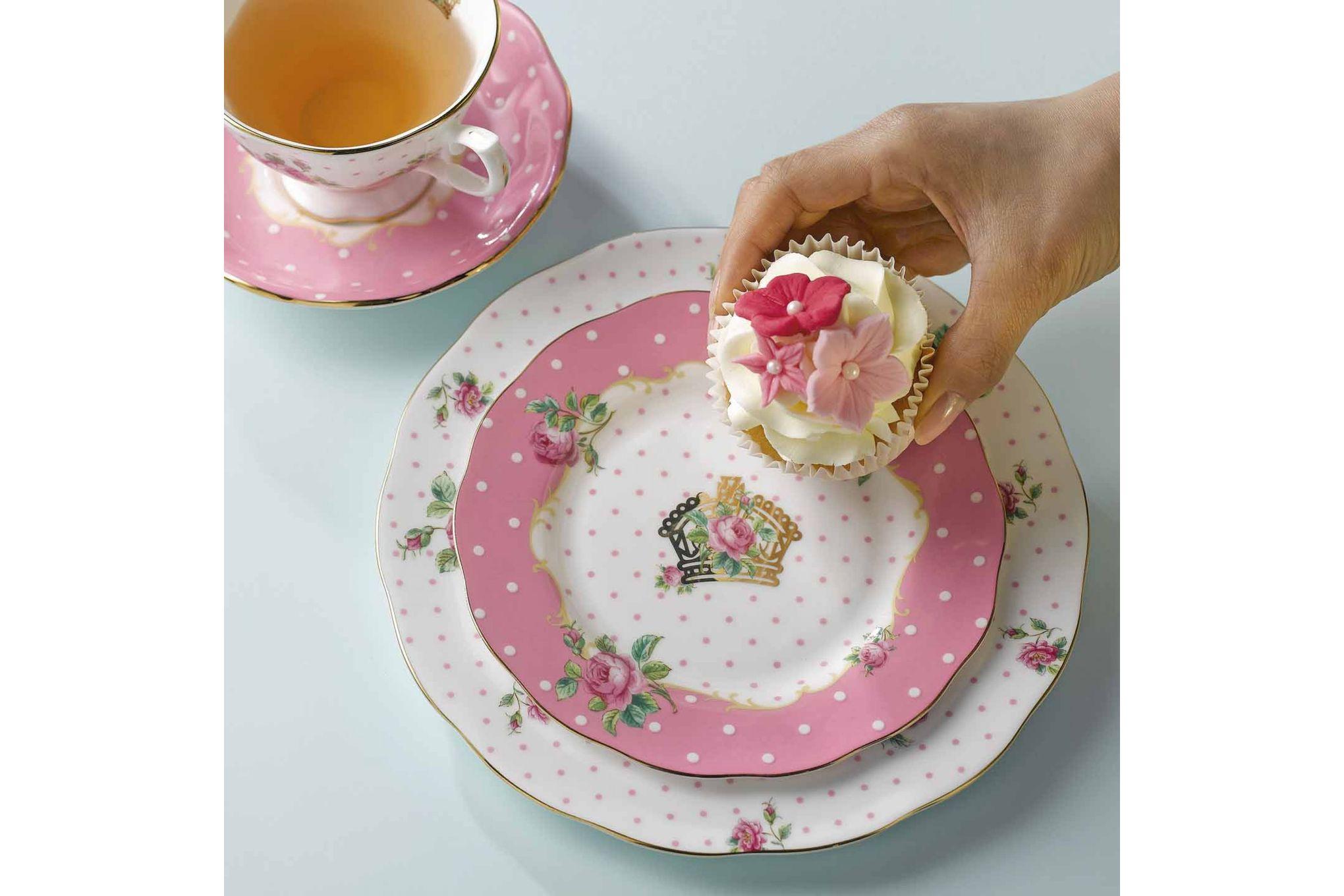 Royal Albert Cheeky Pink Starter / Salad / Dessert Plate Vintage Shape 20cm thumb 3