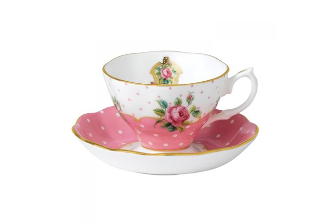 Royal Albert Cheeky Pink Teacup & Saucer Vintage Shape - Gift Boxed