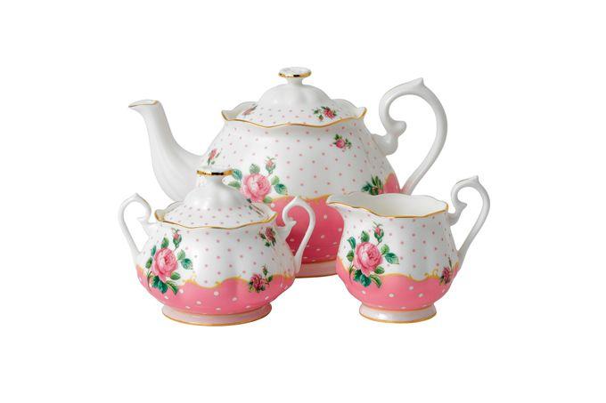 Royal Albert Cheeky Pink Teapot, Sugar and Cream Set Cheeky Pink - 3pc