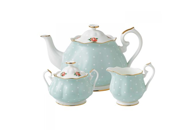 Royal Albert Polka Rose 3 Piece Tea set Teapot, Sugar Bowl and Creamer - Polka Rose