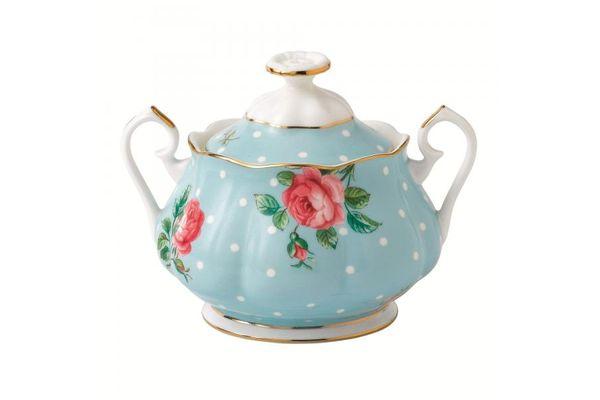 Royal Albert Polka Blue Sugar Bowl - Lidded (Tea) Vintage